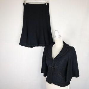 Nanette Lepore Skirts - Nanette Lepore Suit Small Black Tweed Skirt Blazer